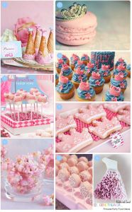 cakes, cookies and treats for a princess party